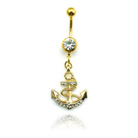 Fashion Stainless Steel Belly Button Rings Dangle Golden Anchor Navel Body Piercing Jewelry + Christmas Gift Box