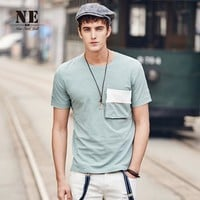 Summer Men's Fashion England Style Casual Short Sleeve Strong Character With Pocket Design T-shirts [7951248515]