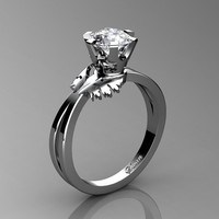 Swan 14K White Gold 1.0 Ct Russian Ice CZ Fairy Engagement Ring R1030-14KWGRICZ