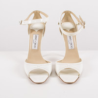 White Patent Leather Open-Toe Pumps size:7.5