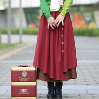 Autumn Winter Skirt Women High Waist Pleated Skirts Plus Size Casual Long Skirt Cotton Linen Vintage Maxi Skirt,Saia,Faldas S198