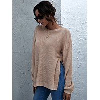 SHEIN Drop Shoulder Split Hem Ribbed Knit Sweater