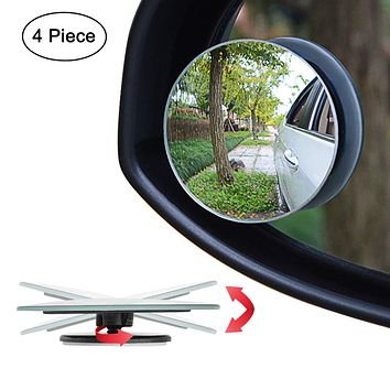 "Ampper Upgrade 2"" Round Blind Spot Mirrors, 360 Degree Adjustabe HD Glass Convex Wide Angle Rear View Car SUV Universal Fit Stick-On Lens, Pack of 4"