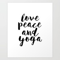 Girls Room Decor,GYM Print,Workout Poster,Love Peace And Yoga,Fitness Decor,Typography Print, Art Print by MichelTypography