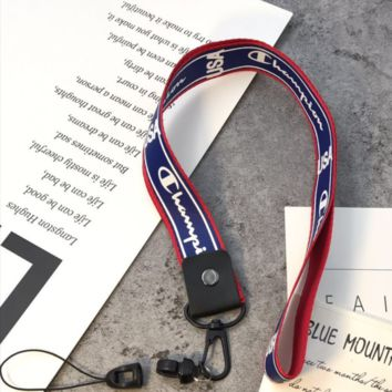 Champion Fashion new letter print neck long and wide key hanging mobile phone lanyard Blue