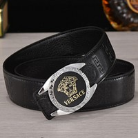 Versace 2018 men and women style tide brand fashion wild smooth buckle belt F0789-1 Silver