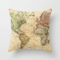 Vintage Map of The World (1831) Throw Pillow by BravuraMedia