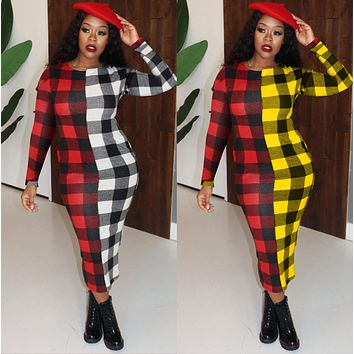 New Women's Checkerboard Plaid Women's Dress