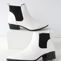 Claude White Pointed Toe Ankle Booties