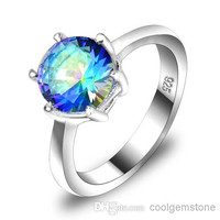 Supply new 925 sterling silver plated small punk genuine Mystic topaz crystal gemstone cocktail wedding rings for lovers R0202