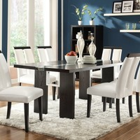 7 pc Kenneth collection black finish wood with center LED light strip dining table set