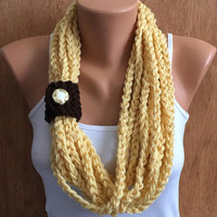 cornmeal yellow hand crochet chain Infinity scarf - necklace scarf gift or for you