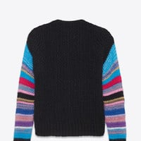 SAINT LAURENT V NECK CARDIGAN IN BLACK AND MULTICOLOR MOHAIR, NYLON AND SILK   YSL.COM