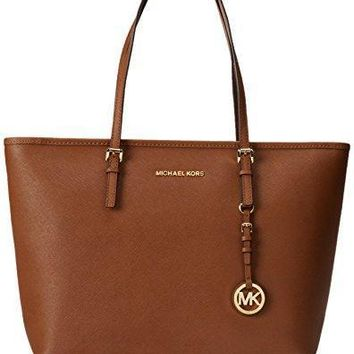 michael by michael kors jet top zip tan leather travel tote
