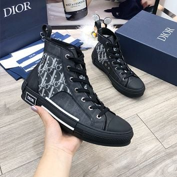 Dior fashion casual shoes stitched high top shoes