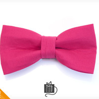 """Pet Bow Tie - """"Pretty in Pink"""" - Pink Detachable Bowtie for Cats + Dogs"""