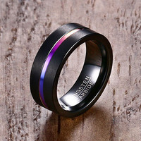 Mprainbow Fashion Mens Rings Black Tungsten Carbide Rainbow Anodized Groove Center Male Ring Wedding Engagement Band Jewelry