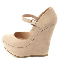 Mary Jane Platform Wedge Pumps by Charlotte Russe - Nude