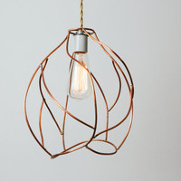 Bare Bulb Pendant Lamp - Industrial Cage Lighting - Artistic Copper Sculpture - Ready to Ship