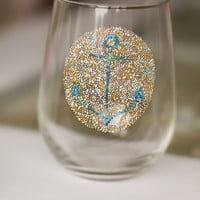 Nautical Anchor Wine Glass: Stemless Mosaic Anchor Glasses or Tumblers
