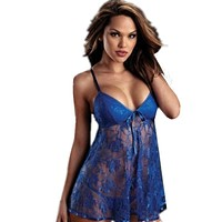 Sexy Lingerie Hot Embroidery Lace Plus Size Lingerie Deep V-Neck Perspective Lenceria Sexy Costumes Babydoll Underwear