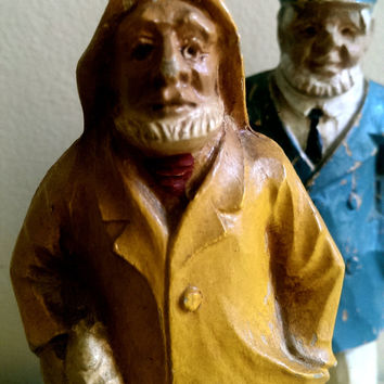 Pair of Old Sailors/ Wooden Sea Captain and Salty Sailor Set/ Hand Carved Sailor Figures