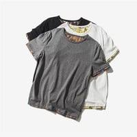 Patchwork Summer Short Sleeve Round-neck Casual T-shirts [9790803907]