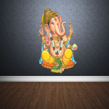 Full Color Wall Decal Mural Sticker Art Paintings Indian Ganesh Om Lotos Elephant Lord Hindu Success Buddha India Like Paintings (col158)