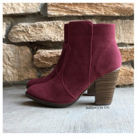 """Style and Flare"" Always Faithful Wine Heel Bootie Boots"