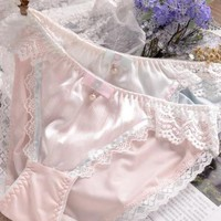 100% Real Photos M  L XL XXXL 3XL 5XL Plus Size Lovely Cute Lolita Kawaii Princess Sexy Lace Pearls Bow Panties Underwear Brief