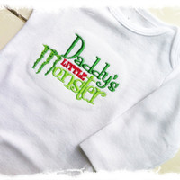 Boys Applique Bodysuit-Embroidered Saying One Piece-Daddy's Little Monster-Baby Boys Clothes-Baby Shower Gift