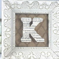Small Framed Initial, Framed book letter, Small white frame, Book lover gift, Book Page Letter, Book Page Art, Decorative Wood Letter