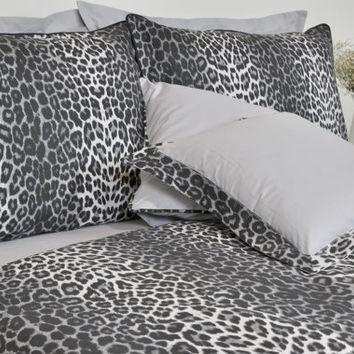 Leopard Dorm Bedding Set in Twin Twin Xl Size - Black Smoky Gray Leopard Print Cotton Fabric, 4 pcs Leopard Duvet Cover and Sheet Set
