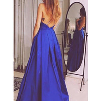 Custom Made A Line V Neck Backless Long Blue Prom Dress, Formal Dresses