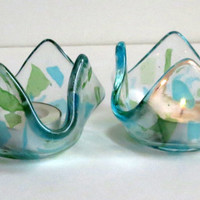 Fused Glass Candle Holders Clear Blue and Green Glass, Statteam