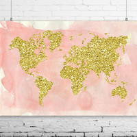 """Gold World Map Wall Print, 24x16"""", Watercolor Style World Map Poster - Travel Decor - Pink World Map - Nursery Decor,  INSTANT DOWNLOAD"""