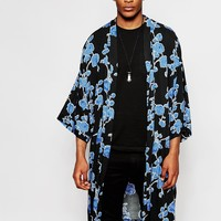 Reclaimed Vintage Floral Kimono In Mid Length