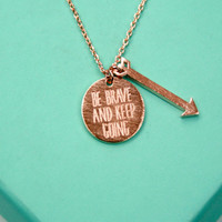 Dainty Rose Gold Brave Necklace