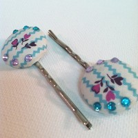 Love's Garden Fabric Button Bobby Pins from Kute As a Button Shop