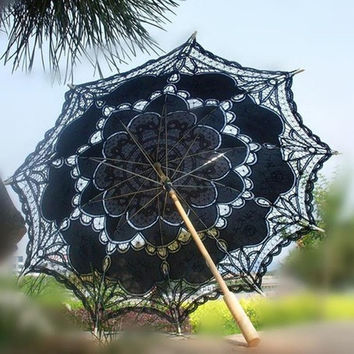 Fashion Embroidered Lace Parasol Sun Umbrella Top Quality Wedding Bridal Bridesmaid Party Show Stage Dancer Actress Decoration H106 = 1932472260