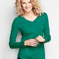 Women's Long Sleeve Shaped V-neck T-shirt from Lands' End