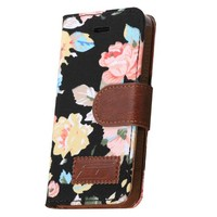 iPhone 5S Case, iPhone 5 Case,OMIU(TM) Flower Floral Style Wallet Stand Leather Case Cover with Credit Card Holder for Apple iPhone 5 5S(Black), with Screen Protectors, Stylus and Cleaning Cloth