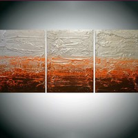 "ARTFINDER: triptych 3 panel wall decor art "" Citrus Silver "" acrylic three part impasto effect 3 panel metallic silver on canvas wall abstract 54 x 24"" by Stuart Wright - "" Citrus Silver "" extra large triptych 3 piece ..."
