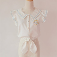 Sailor Style Embroidery Blouse Top Free Ship SP141110