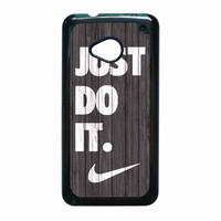 Nike Just Do It Wood Colored Darkwood Wooden HTC One M7 Case
