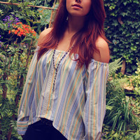 Bohemian blouse tube top off shoulder high low striped lace shirt Boho Hippie style Upcycled clothing OOAK by TheBohemianDream