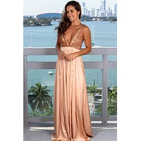 Rose Gold Sequin Top Satin Maxi Dress