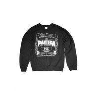 Featuring super soft blended material with white print of 101 Proof No 5 and Pantera Logo on front, crewneck, long sleeves. Unlined.