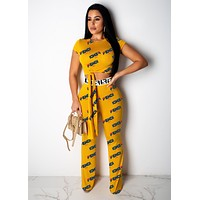 FENDI Summer Hot Sale Women Sexy Print Crop Top Pants Trousers Set Two-Piece Yellow