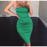 New silk satin soft slip back strap sexy bag hip slim mid-length strap dress